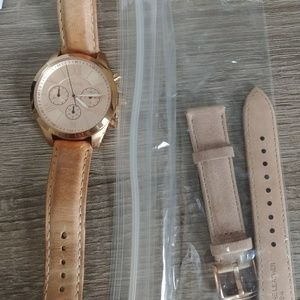 Rose gold Fossil watch w/ new straps